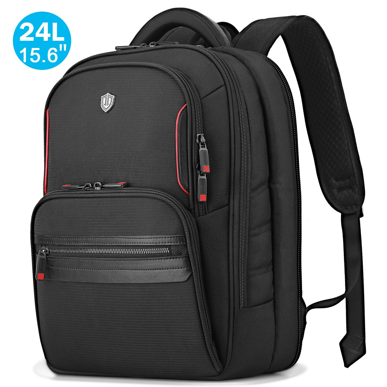 SHIELDON 15.6-inch Laptop Backpack, TSA Friendly Business Computer Bag Water Resistant 24L Travel Carry-on Notebook Backpack with Adjustable Laptop Sleeve for Men Women Collage School – Black