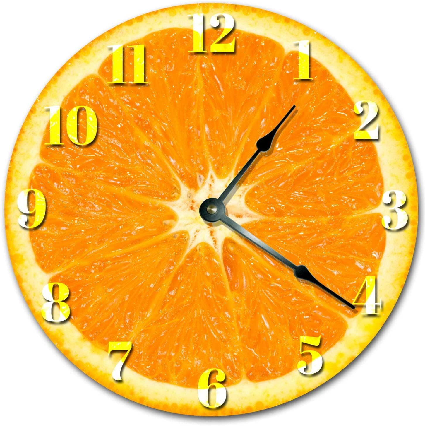 8Jo6Poe Orange Fruit Kitchen Clock Large 12 inch Clock Novelty Clocks Wall Clocks Round Clock, Food Clock, Kitchen Clock 2019