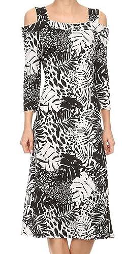 Avital Cold Shoulder Fit Flare Trapeze Midi Dress