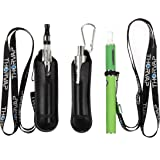 THORVAP Faux Leather Necklace Lanyard with Pouch Holder. [1] Lanyard Necklace + [1] Carabiner for E-shisha pen, Leather Pouch case Necklace (black)