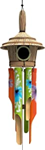 Nalulu House Bamboo Wind Chime - Outdoor Wood Wooden Painted Design with Birdhouse Crown & Relaxation Ready
