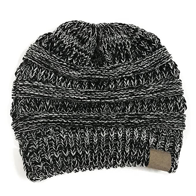 d66599eef HMILYDYK Women Cable Knit Beanie Tail Hats Soft Stretch Ponytail Messy Bun  Head Wrap Cap for Winter Autumn