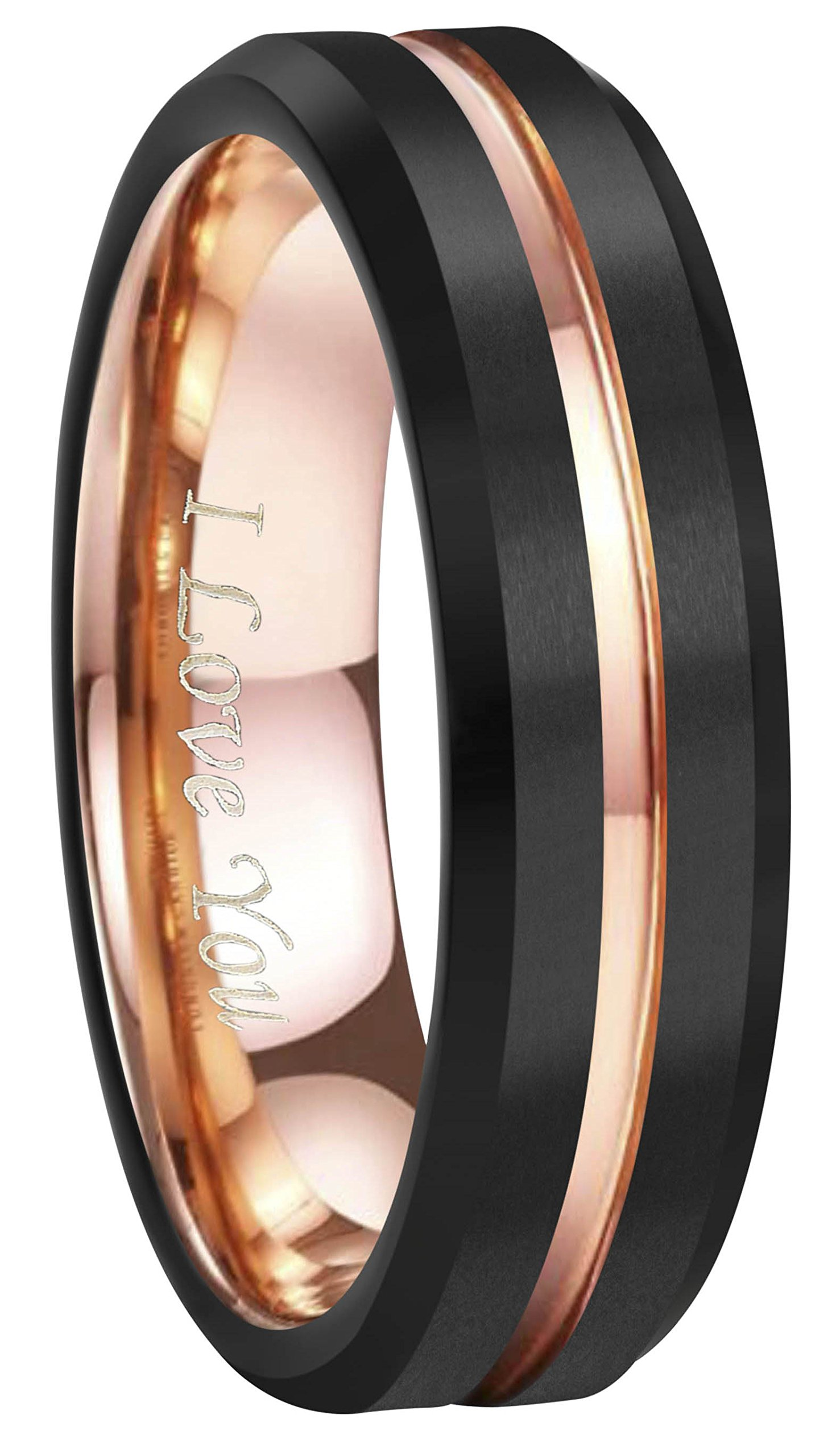 4mm 6mm 8mm 10mm Rose Gold Groove Black Matte Finish Tungsten Carbide Wedding Band Ring Engraved ''I Love You'' (6mm,10)