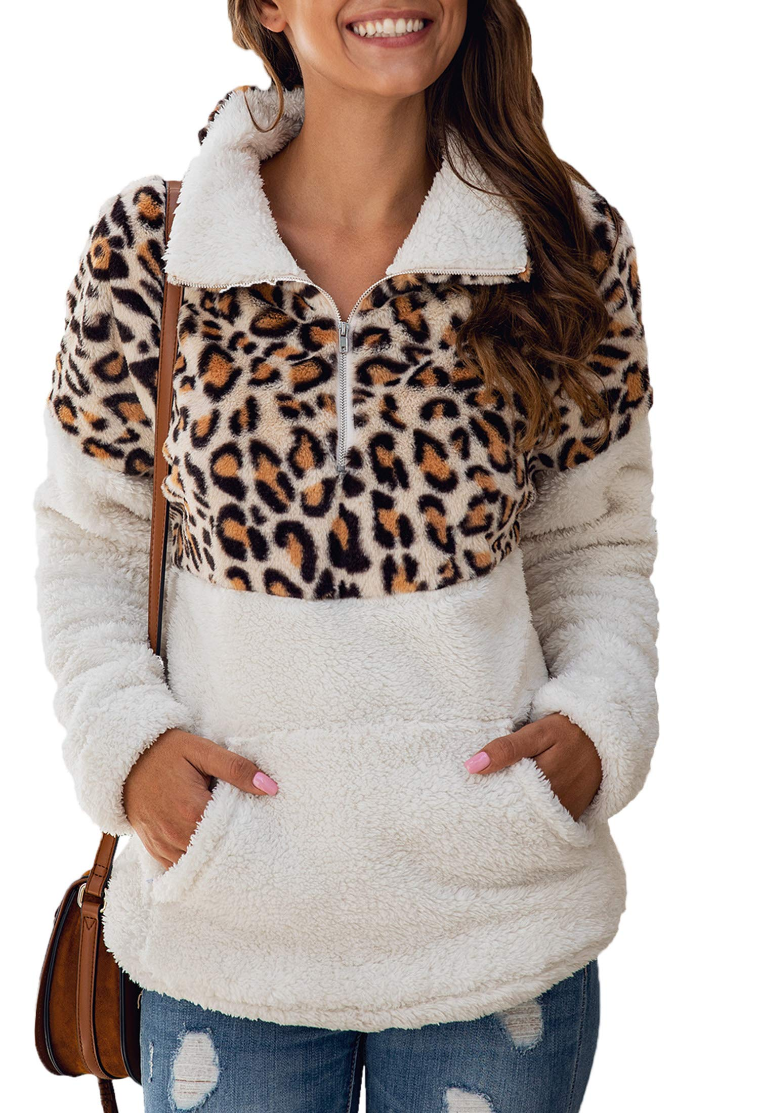 Angashion Womens Long Sleeve Half Zip Up Warm Fuzzy Leopard Print Patchwork Fleece Pullover Tops with Pocket for Winter 357White M by Angashion