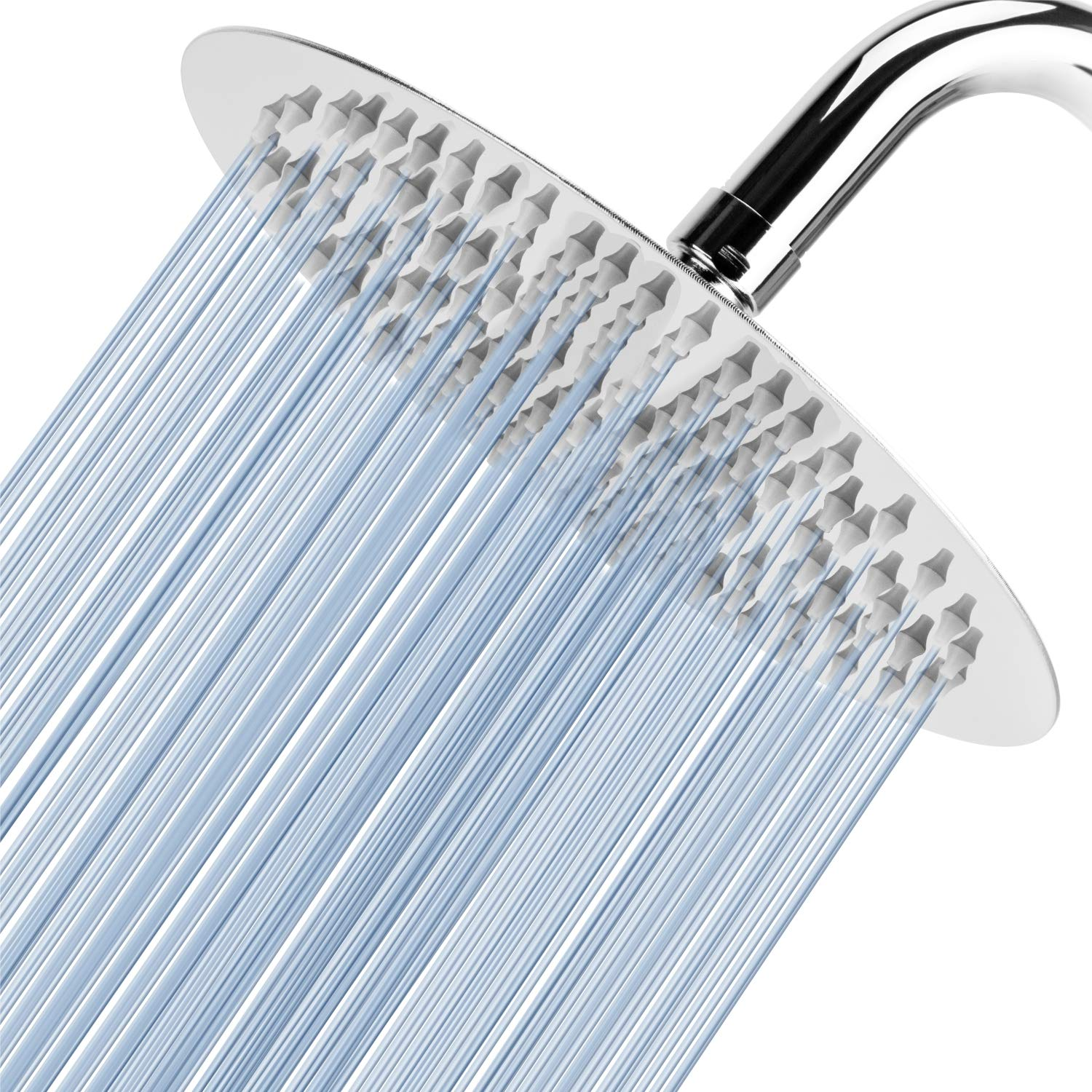 Voolan 8'' High Pressure Rain Shower Head, 304 Stainless Steel, Comfortable Shower Experience Even at Low Water Flow