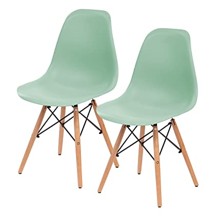 Amazing IRIS Mid Century Modern Shell Chair With Wood Eiffel Legs, 2 Pack, Mint