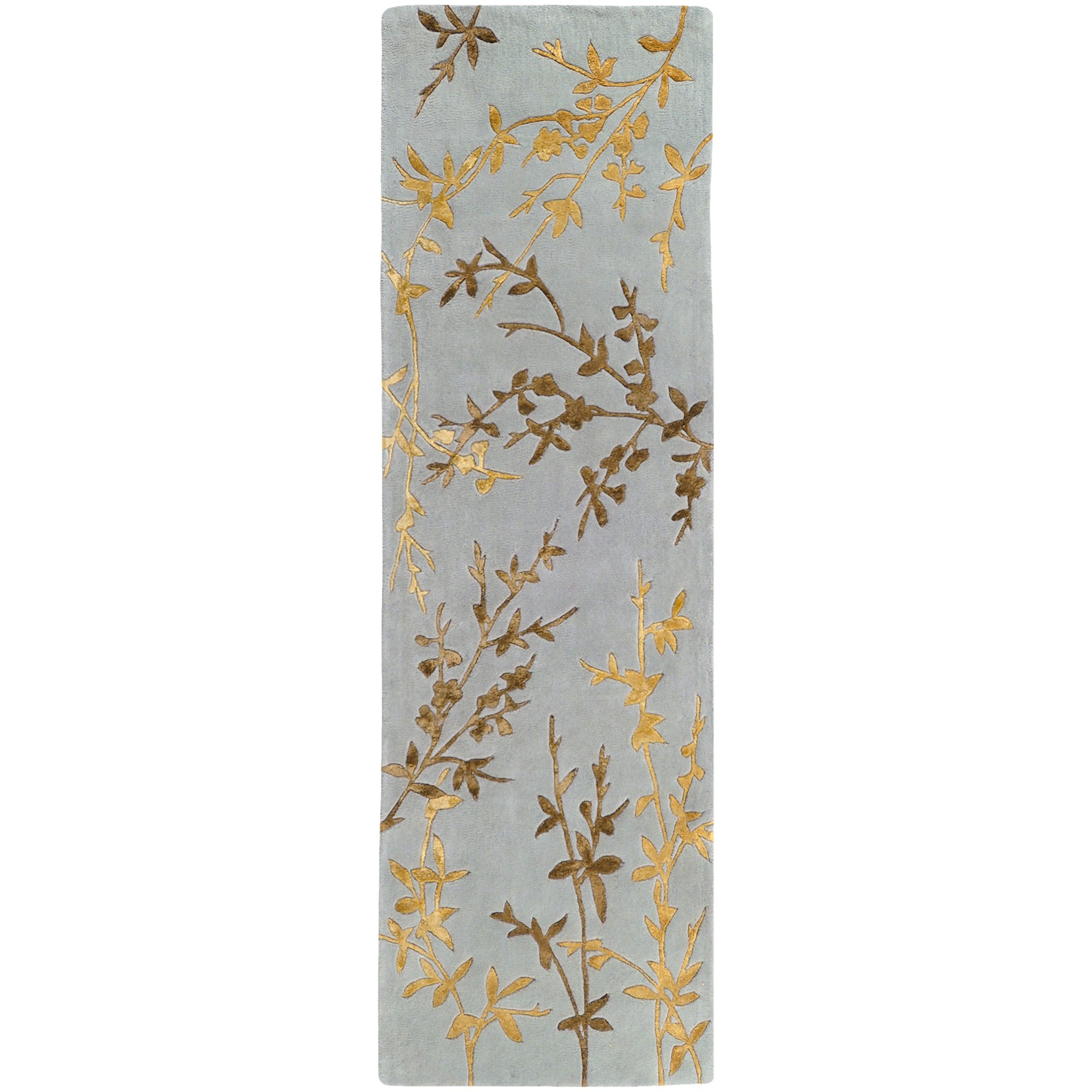 Surya Tamira TAM-1000 Transitional Hand Tufted 100% Wool / Viscose Dove Gray 2'6'' x 8' Floral Runner by Surya