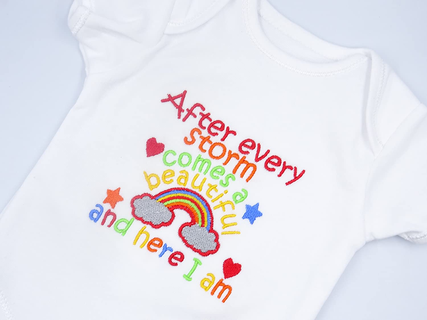 Precious Little Miracle Embroidered Baby Vest Gift Rainbow Unisex