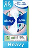 Always Infinity Feminine Pads for Women, Size 2, 96 Count, Heavy Absorbency, Unscented (32 Count, Pack of 3-96 Count Total)