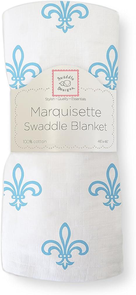 Azul Flor de lis Muselina de Algod/ón de calidad superior SwaddleDesigns Manta Envolvente Marquiseta