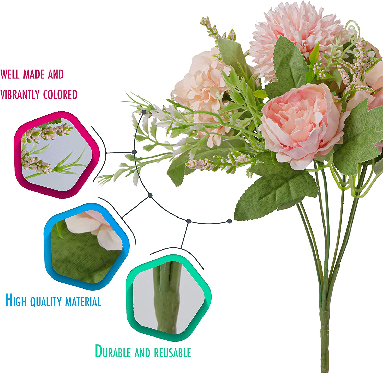 Wedding Decor ALIFF Artificial Flowers Indoors Peony Silk Flowers Bouquet For Home Decoration Dining Table and Christmas Pink Use These Fake Flowers In Vase