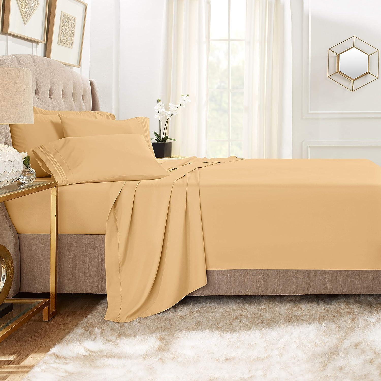 1800 Count 4 Piece Deep Pocket Soft Bed Sheet Set Clara Clark King Camel Gold