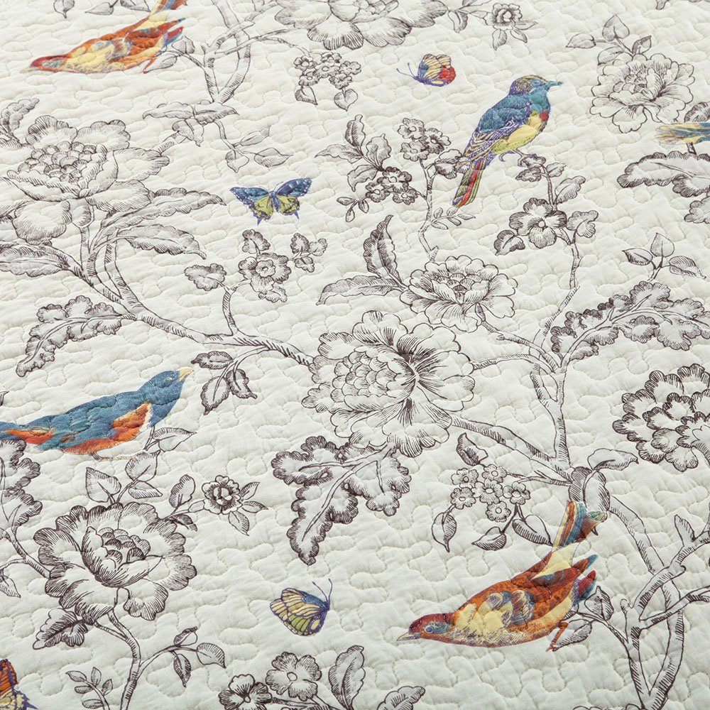 Vintage Floral Quilt Set King Cotton Bedspread Set Beige Brown Reversible Quilt Coverlet Set Luxury Birds Flower Butterfly Printed Quilt Set, Soft and Warm Autumn Winter Quilt Comforter Set by AMWAN (Image #4)