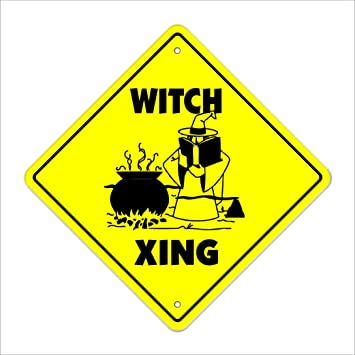 Indoor//Outdoor 14 Tall Witchcraft Wizard Witches Wiccan Ride Broom Craft Witch Crossing Sign Zone Xing