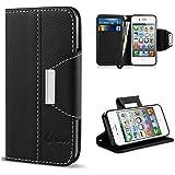 Vakoo iPhone 4 Custodia iPhone 4S Cover flip a portafoglio in pelle sintetica premium Protettiva Custodia per Apple iPhone 4/4S (Nero)