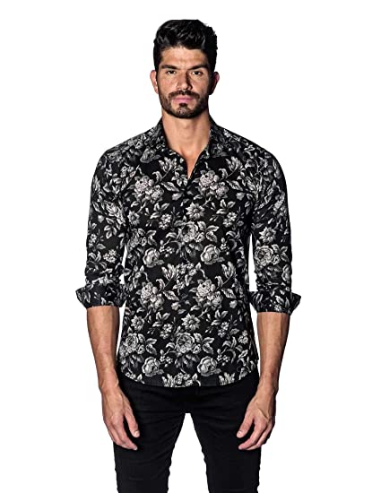 954694655ac Jared Lang Black Floral Printed Shirt for Men T-5069 at Amazon Men's ...