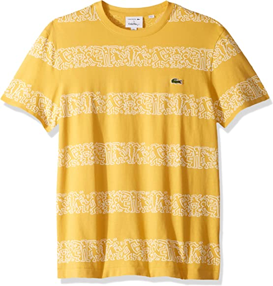 2f4f807c6 Lacoste Men's S/S Printed Stripes Jersey T-Shirt, PHYSALIS, Small ...