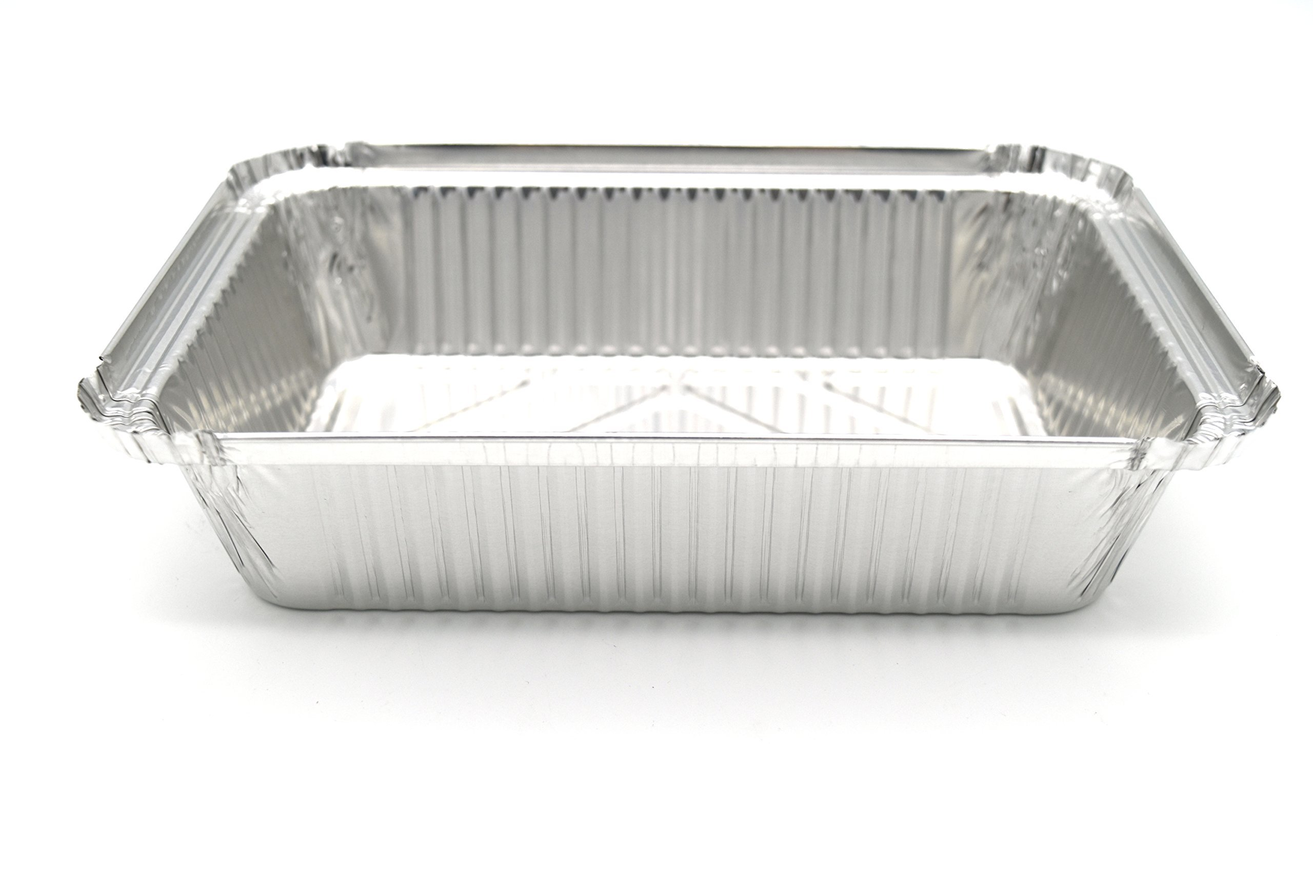 Fig & Leaf (120 Pack) Premium 2-LB Takeout Pans with LIDS l Standard 8.6'' x 6.1'' x 2'' l Top Choice Disposable Aluminum Foil for Catering Party Meal Prep Freezer Drip Pans BBQ Potluck Holidays by Fig & Leaf (Image #4)