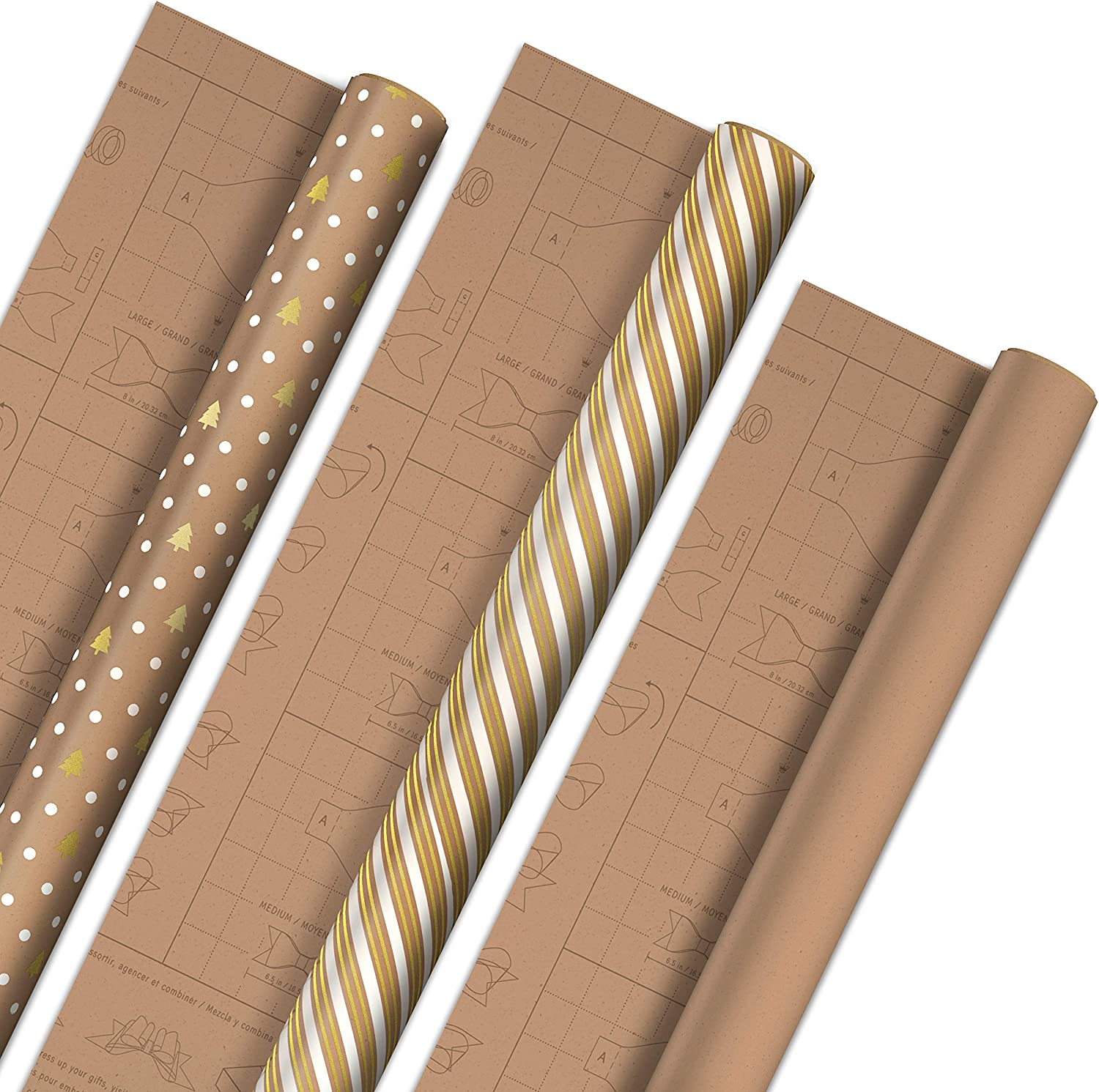 Hallmark Holiday Wrapping Paper with DIY Bow Templates on Reverse (3 Rolls: 120 sq. ft. ttl) Kraft and Gold Christmas Trees, Stripes, Solid Kraft for Christmas, Hanukkah, Weddings, Birthdays
