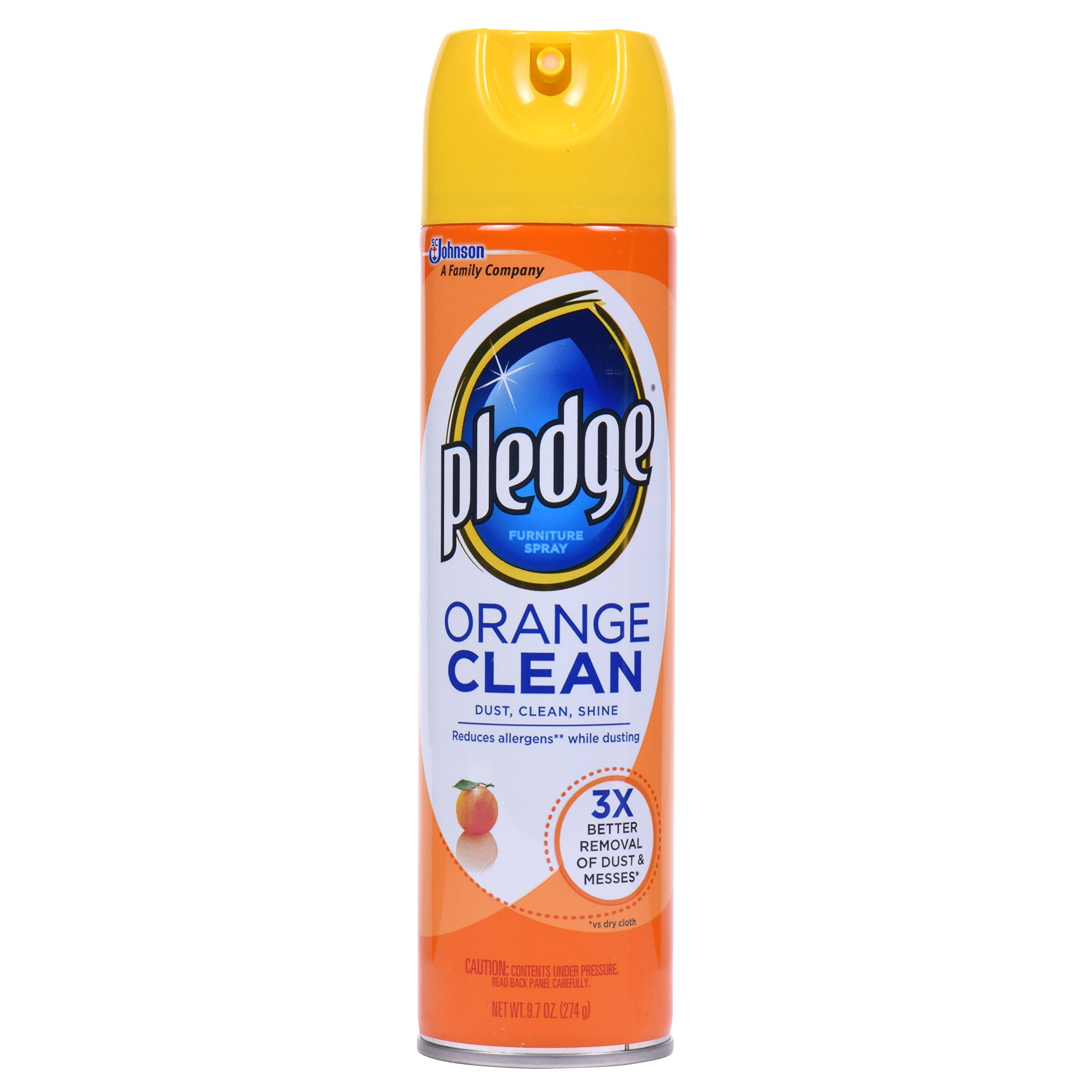 Pledge Orange Clean Furniture Spray, 9.7 Ounce, 3 Count
