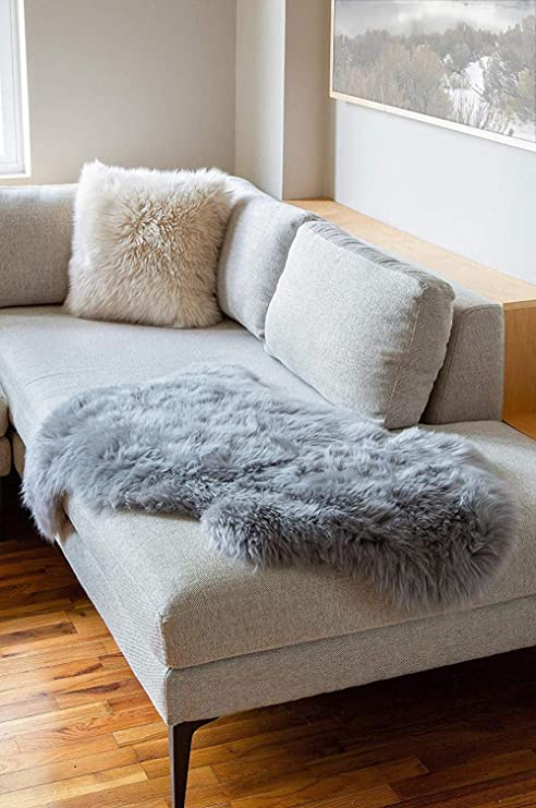 Amazon.com: GC Real Sheepskin Area Rugs Natural Grey Stain ...