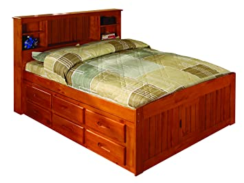 Discovery World Furniture Bookcase Captains Bed With 12 Drawers, Full, Honey