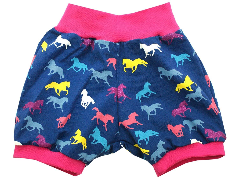 Kleine K/önige Kurze Hose Gr Pink 50-152 Baby Hose M/ädchen Sommer Pferde Glitzer Horses