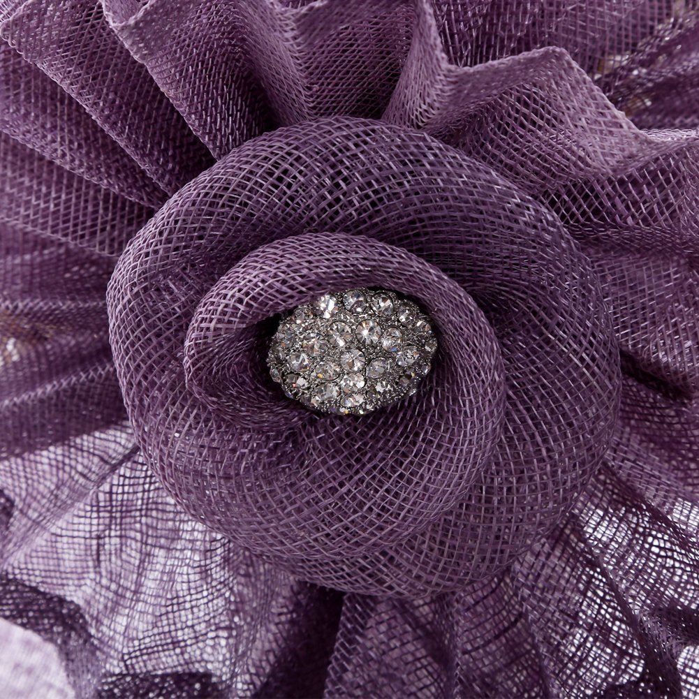 June's Young Women Hat Big Flower Summer Hat Sinamay Wide Brim(Purple) by June's Young (Image #5)