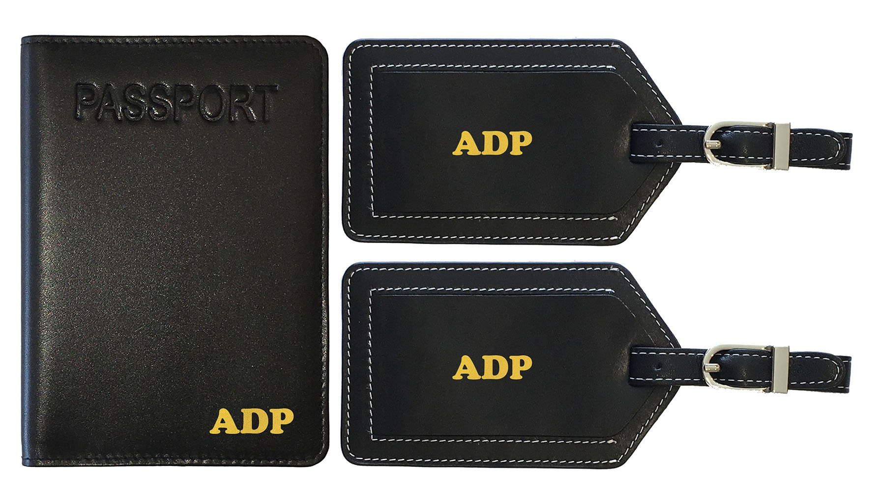 Personalized Monogrammed Black Leather RFID Passport Cover Holder and 2 Luggage Tags by 123 Cheap Checks