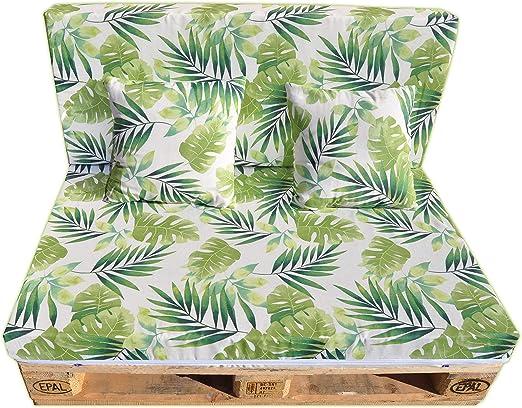 Gbla Colchon y Respaldo de Espuma para Sofá de Palet Enfundado en Tejido - Ideal para Jardín, Terraza, Patio, Salón y Balcón (Verde): Amazon.es: Jardín