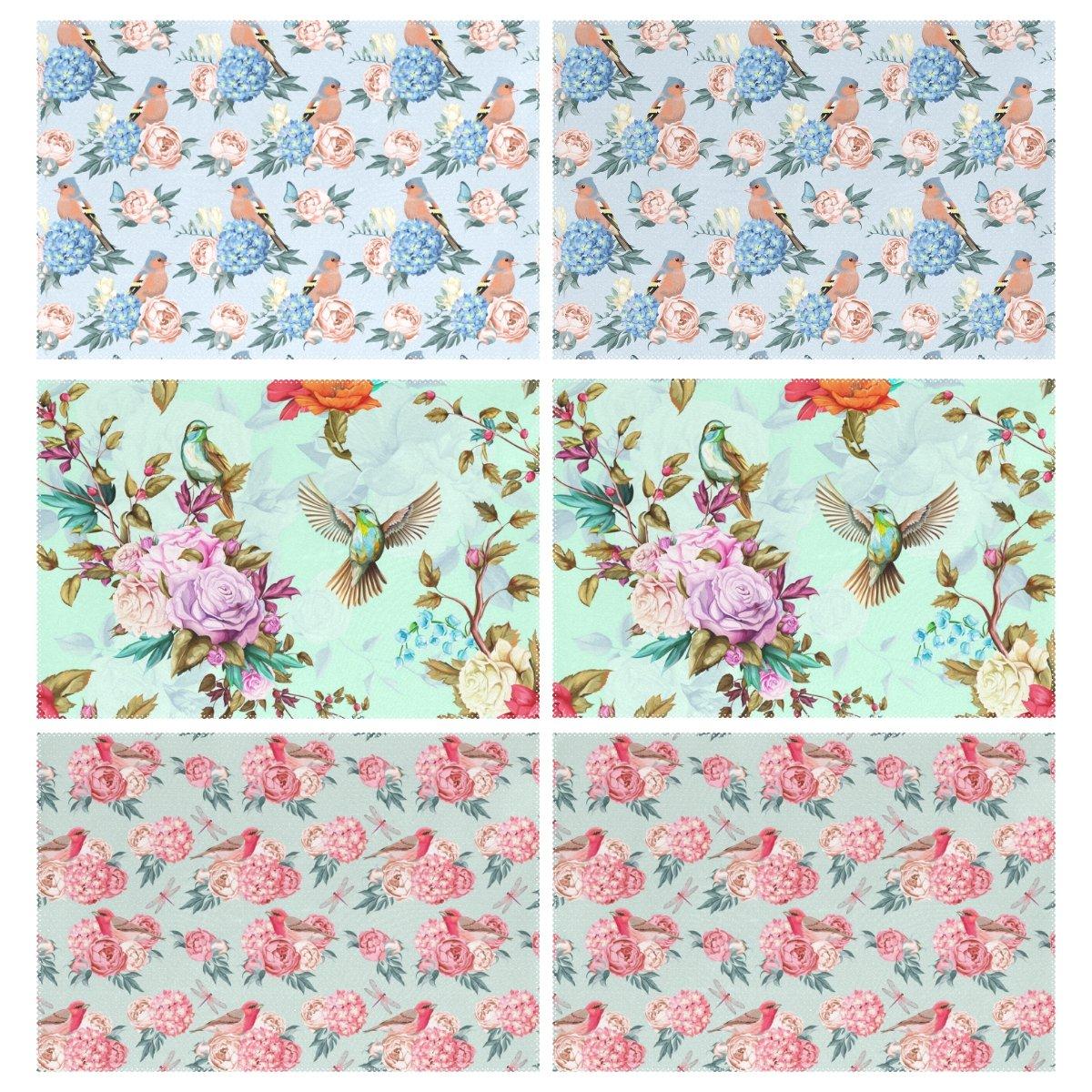 wellleeマルチデザインエレガントなHumming Birds花プレースマット6のセットポリエステルプレートホルダーテーブルマットキッチンダイニングルーム用、12 x 18インチ   B071X92PFM