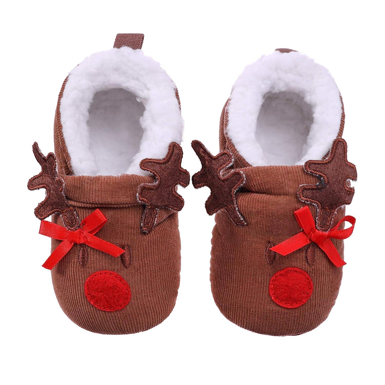 TRUEHAN Shoes for Baby Girls Boys Newborn Infant Super Warm Soft Fleece Slippers Booties Grippers 0-18 Month