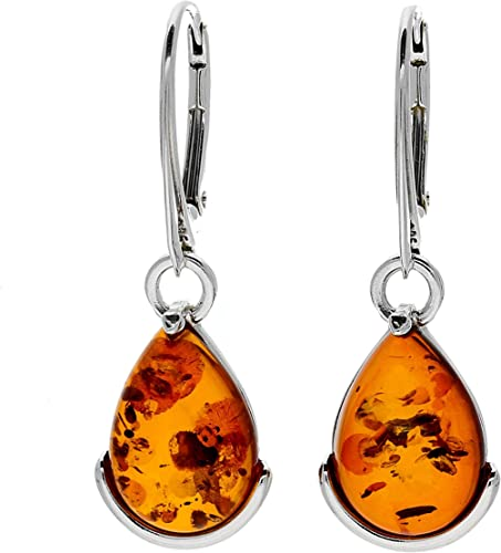Great gift UNIQUE COGNAC BALTIC AMBER EARRINGS 925 STERLING SILVER