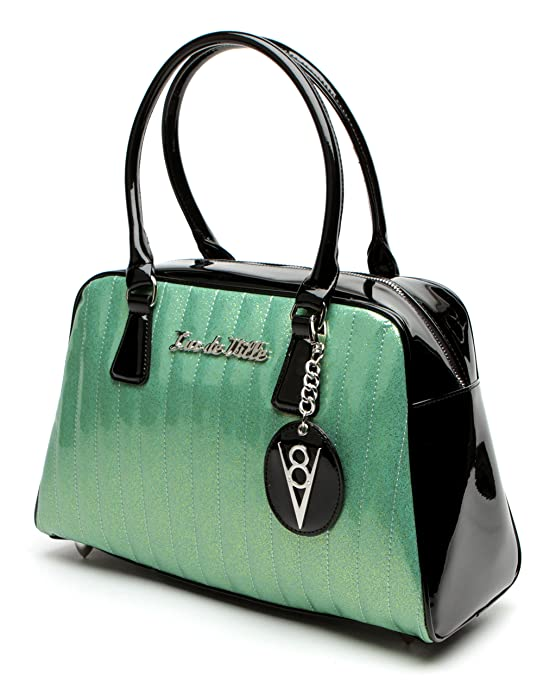 1950s Handbags, Purses, and Evening Bag Styles Lux de Ville V8 Large Car Tote Black and Baby Green Sparkle $95.00 AT vintagedancer.com