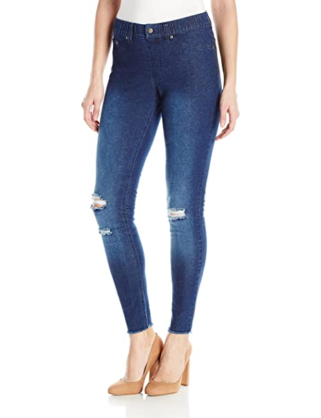 8fc3fc770af78f Hue Womens Ripped Knee Denim Leggings Leggings: Amazon.ca: Clothing ...