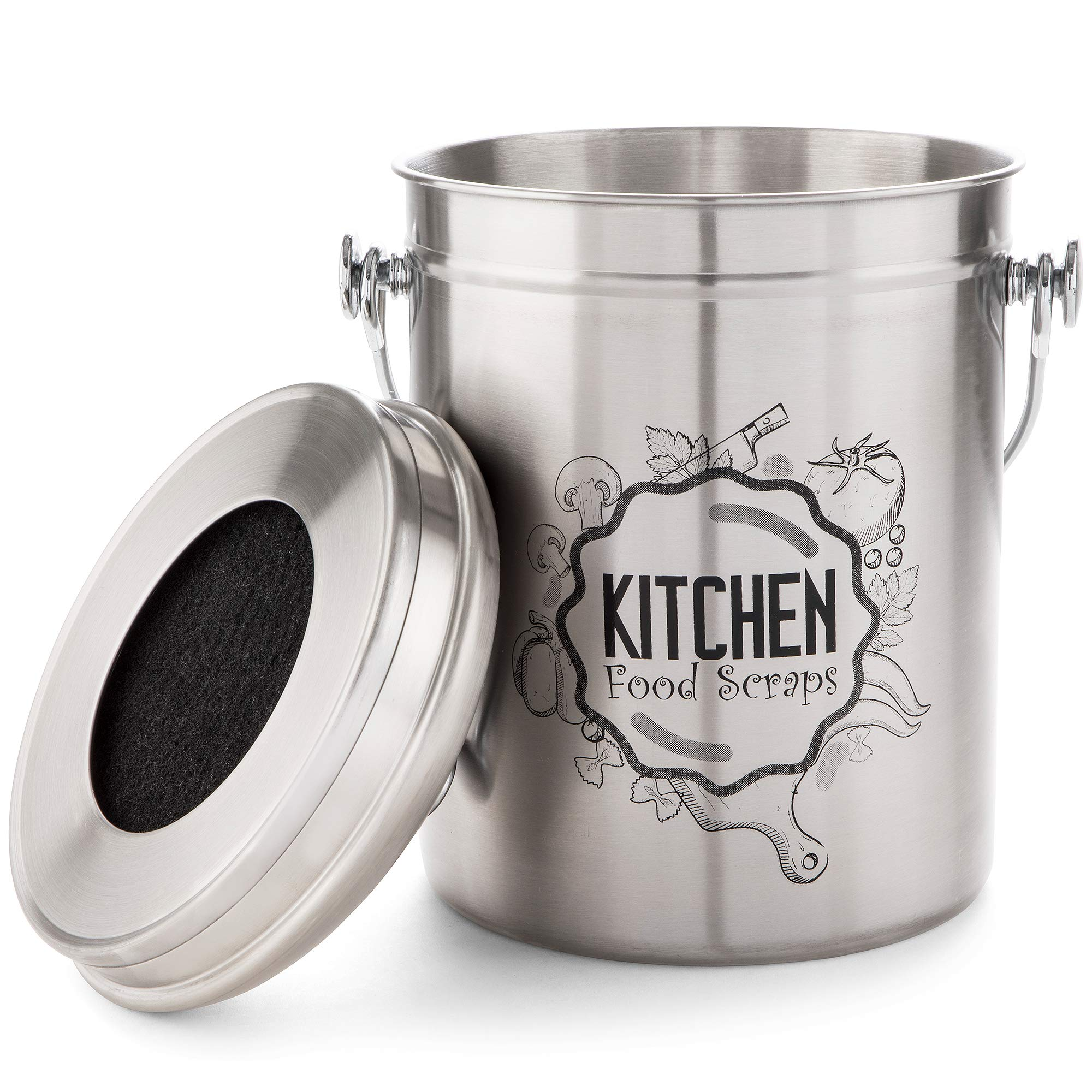 Kitchen Compost Bin Stainless Steel (Food Grade 410) Odorless Countertop Compost Pail -Bonus Charcoal Filters & Gardening Gloves. Insect-proof 1.3 Gallon bucket. Gift Boxed, and Gift Wrap available by Green Hills Health (Image #7)
