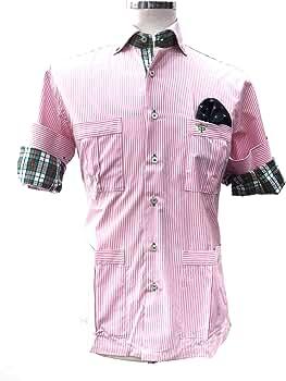 Francisco Pavón Camisa Casual Guayabera Rosa Chicle con Cuello y puño de 1000 Rayas celestes y Blancas (M): Amazon.es: Ropa y accesorios