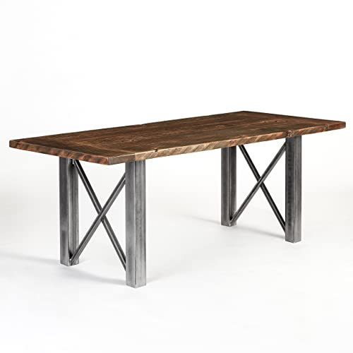 Amazon Com Wood Table Reclaimed Wood And Hand Forged Steel Customizable Conference Dining Table Bridge Base Made In Usa Urban Reclamations Handmade