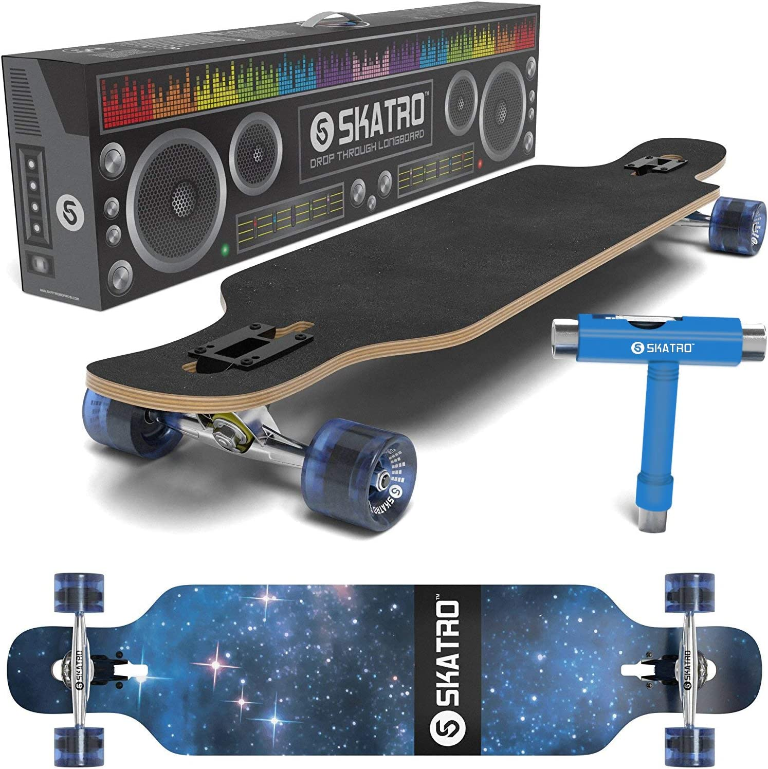 skatro Drop through Longboard skateboard freeride - with FREE T-tool / UK
