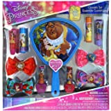TownleyGirl Townley Girl Disney Beauty and the Beast Cosmetic Set for Girls, with Lip Gloss, Nail Polish, Hair Bows and Mirror