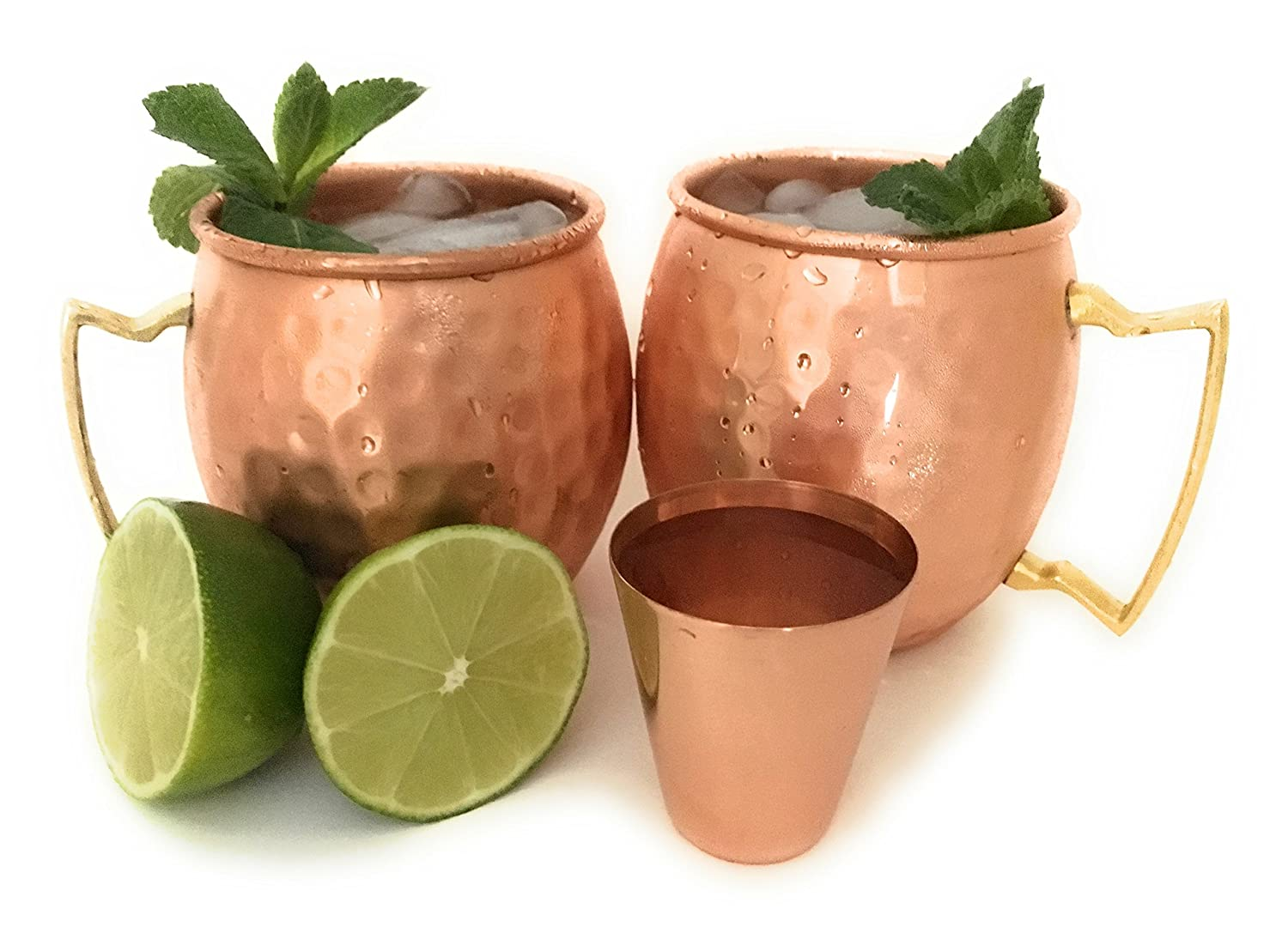 Official Moscow Mule Copper Mug Gift Set by Sterling Chef with Pure Copper 16 Ounce Mugs Plus Shot Glass in Hand Hammered Copper - Gift Set of 2 Cups