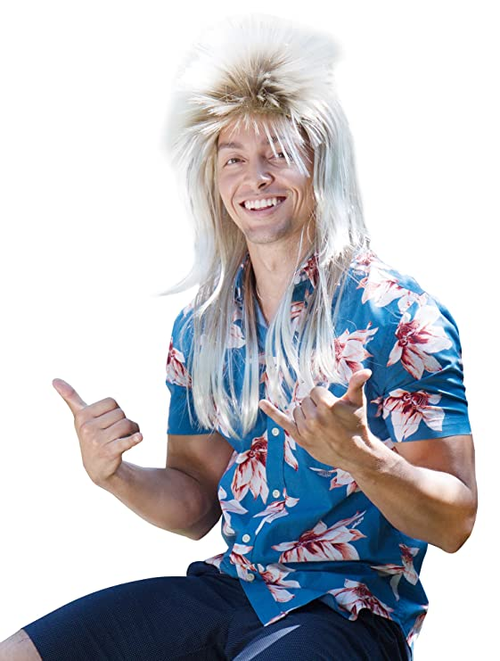 Adult 80's Hair Band Rockstar Mullet Wig
