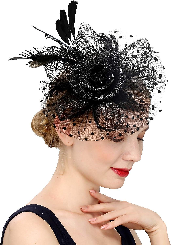 Binglinghua Fascinators Hat for Women Tea Party Headband Kentucky Derby Wedding Cocktail Flower Mesh Feathers Hair Clip