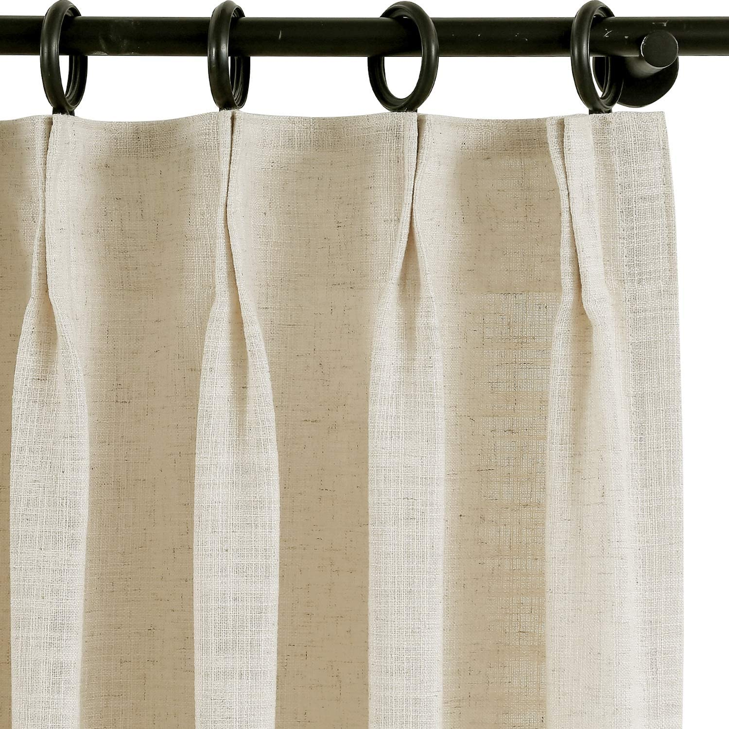 Custom Curtain Drapery Polyester Linen Curtain, for Traverse Rod and Rod, Living Room Curtain Dining Room Curtain, Blackout Room Darkening Lined and Unlined Curtain, ChadMade Liz Collection
