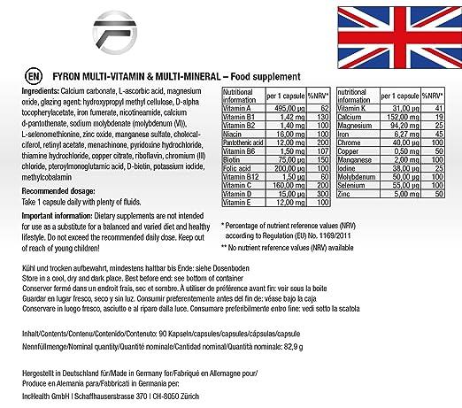 FYRON Multivitamínico - 23 Vitaminas & Minerales - Vegano: Amazon.es: Salud y cuidado personal
