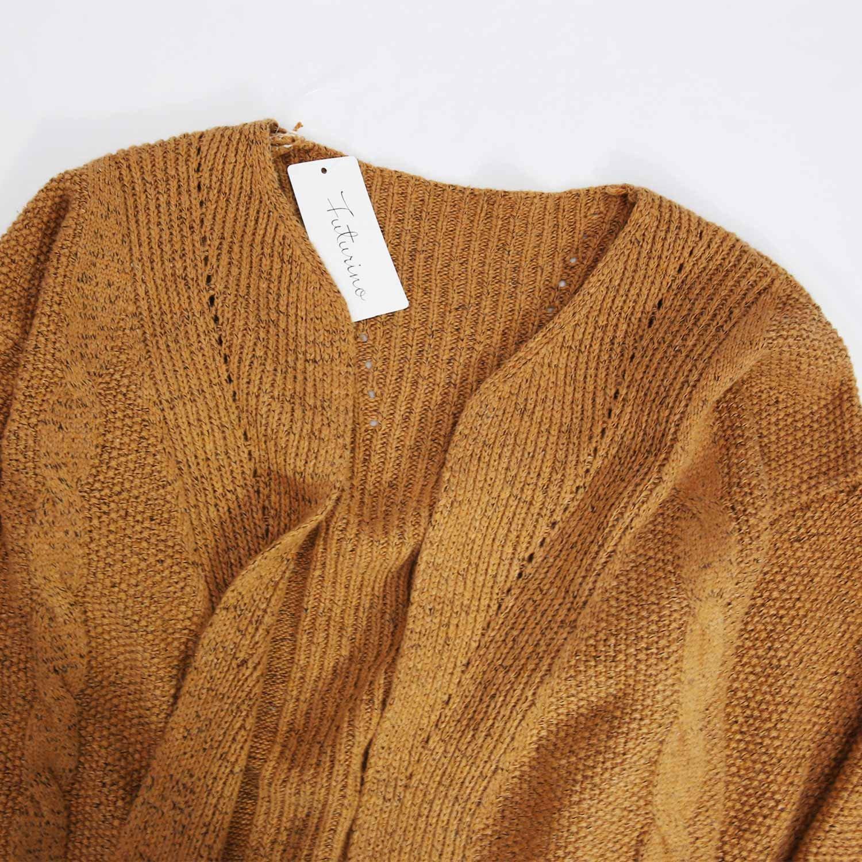 Futurino Women's Cable Twist School Wear Boyfriend Pocket Open Front Cardigan (One Size, Brown) by Futurino (Image #4)