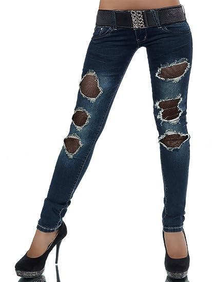 FASHION BOUTIK jeans slim femme sexy dechiré sur resille noir + sa ceinture  36 38 40 7b3e63272f1e