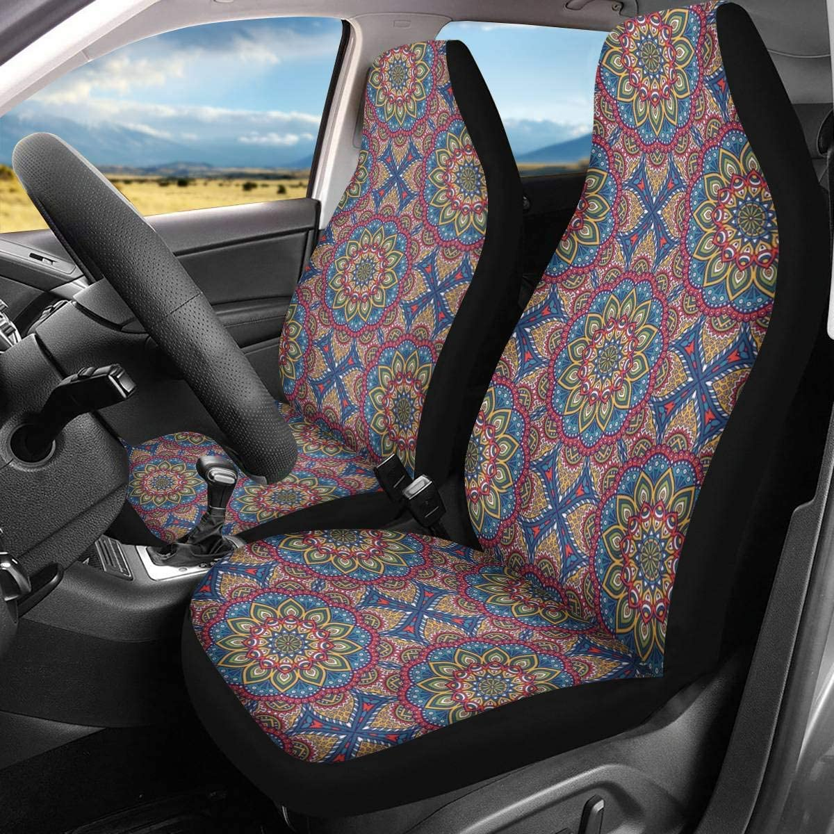 GLENLCWE Bold Eagle Pattern Car Front Seat Covers Universal Fit Breathable Bucket Seat Cover 2PCS