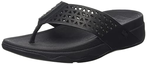 4a3142383a6580 FitFlop Womens Lattice Surfa All Black Thong Sandal - 7