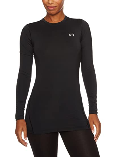 c6acbd62 Under Armour Women's ColdGear Authentic Crew, Black (001)/Silver, Large